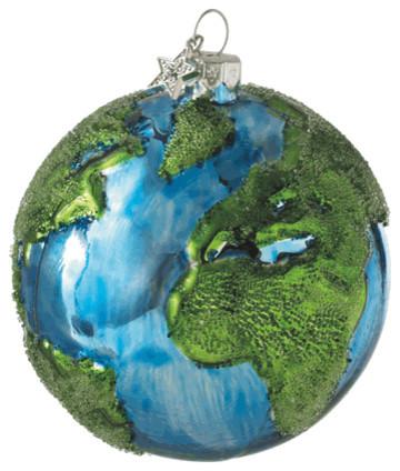Earth Christmas Tree Ornament Glass Ball Globe Green Environment Holiday Gift Contemporary