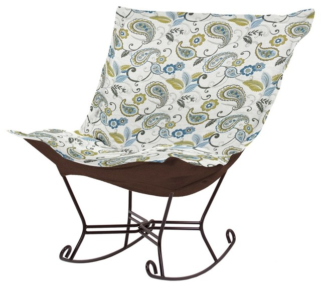 Paisley Lagoon Scroll Puff Rocker - Mahogany Frame contemporary-rocking-chairs