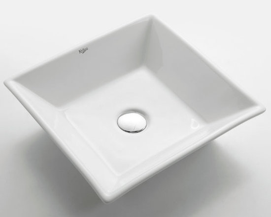 Kraus KCV-125 White Square Ceramic Sink - Add an elegant touch to your bathroom with a ceramic washbasin