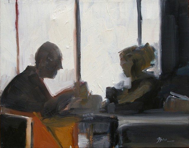 """""""2 figures dining at a window"""" Artwork contemporary-originals-and-limited-editions"""