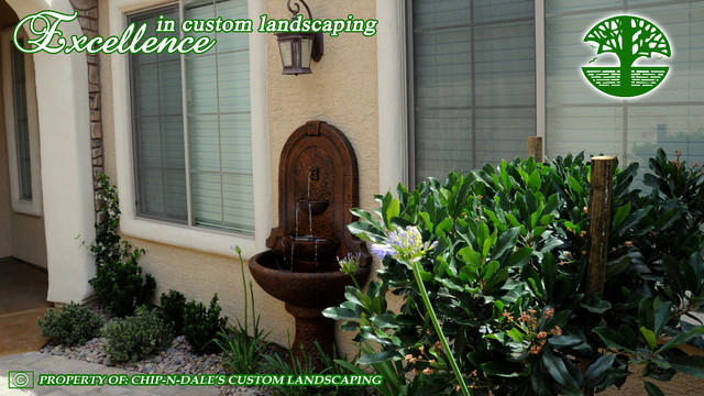 FOUNTAIN BY CHIP-N-DALE'S CUSTOM LANDSCAPING mediterranean-landscape