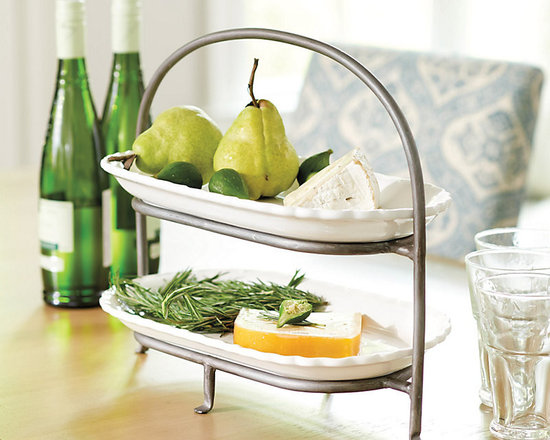 Ballard Designs - Countertop Stand with Eliza Platters - Set/2 Eliza Platters are included and coordinate with the rest of our Eliza Serveware Collection. Crafted of iron. Brushed zinc finish. Platters are dishwasher safe. This two-tier stand is great for adding height and extra serving space on a buffet. When you're not entertaining, use it to display fruit or store spice jars in the kitchen. Comes with two white earthenware Eliza Platters.Countertop Stand & Platter features: . . . .