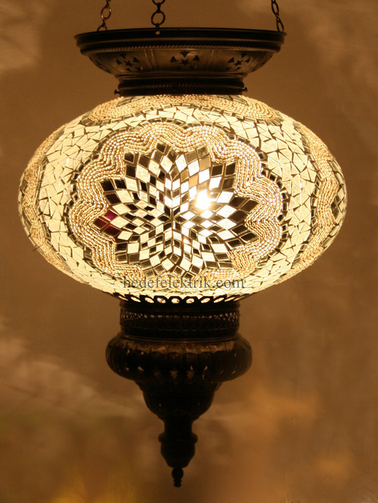 Turkish Style Mosaic Pendant Lamp 32 cm - Mosaic lamps are made of original colour of glasses. When the lamp is lit, the glasses cause colorful shades, which can suddenly change the ambiance of a room by its inspiring view. Noe of the glasses are painted nor applied a transaction. Each parts of the lamp are handmade.