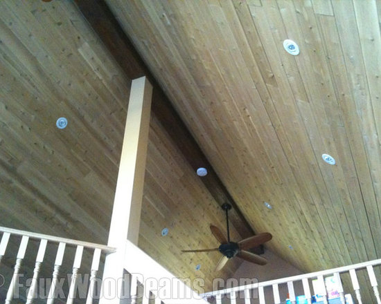 Sandblasted Faux Beams - Spruce up a design with a single faux beam at the peek of your roof to give the room a unique appeal.