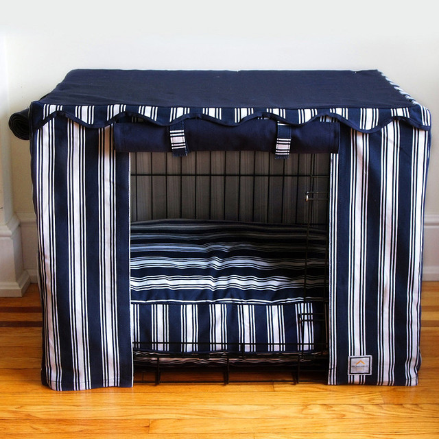 Nautical Stripe Pet Crate Cover - Small traditional-dog-kennels-and-crates