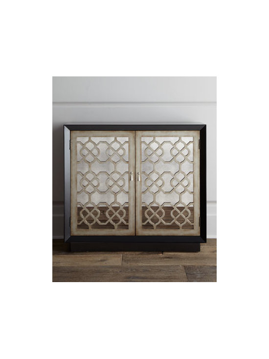 Horchow - Asher Mirrored Chest - We have just the piece to add dimension to your neutral spaces. The modern shape of this chest is enhanced with decorative grille detail on mirrored cabinets. Crafted of poplar wood with painted black finish and antiqued-silver trim. Two cabinet doors...
