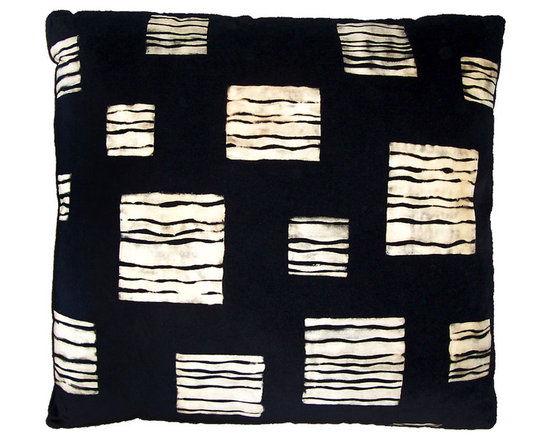 Modern Designer Hand Print Pillow - High-end Custom and Ready made pillows available on-line.  A Contemporary Decorative Pillow of Off White on Black Velvet.  A Carol Tate Original Surface Design in Organic Squares, Stencil Printed in Bleach on Black Cotton Velvet.  A One of a Kind Designer Decorative Pillow with Feather Down Insert.   Couture Custom Workroom Services Available. Artisanaworks