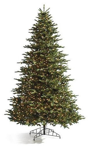 Pre-lit Noble Fir Artificial Christmas Tree. with Traditional Stand - 9' traditional-holiday-decorations