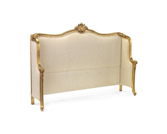 Mountbatten King Headboard by John Richard - The Mountbatten Headboard showcases elegant, feminine design with its sleek upholstery, unique shape, and carved details finished in Old Gold.