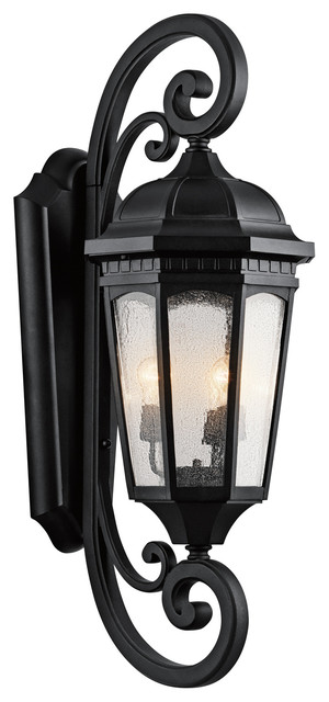 Kichler 3-Light Outdoor Wall Lantern - Textured Black Exterior traditional-outdoor-wall-lights-and-sconces