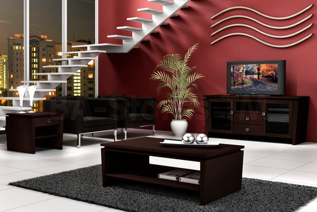 3 pc classic modern set tv console coffee table and end table furnitech modern coffee. Black Bedroom Furniture Sets. Home Design Ideas