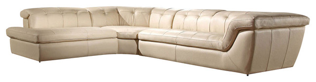 397 Beige Full Tufted Top Grain Italian Leather Sectional
