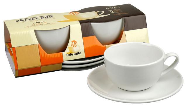 Set of 2 Café Latte Mugs and Saucers traditional-mugs