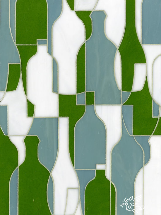 Erin Adams - Bottles - Bottles, a glass waterjet mosaic shown in Eva, Serpentine and Moonstone, is part of the Erin Adams Collection for New Ravenna Mosaics.