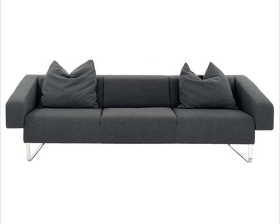 Eurostyle Carlito Loveseat in Gray - This contemporary Carlito Loveseat is designed by Stanley Jay Friedman, which is easily going with any modern stylish room or space. It is upholstered in gray fabric over foam, with stainless steel base offering an impeccable quality.