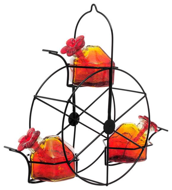 Red Ferris Wheel Hummingbird Feeder eclectic-bird-feeders