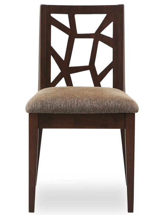 Bryght - Jenifer Dining Chair - Take a seat on the Jenifer dining chair. Made of Eco-friendly hardwood in a warm cocoa stain, the Jenifer dining chair represents versatility with an avant-garde flair. Its modern and abstract asymmetrical patterned back and padded seating is sure to provide comfort with a touch of oomph!