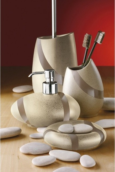 Stone sandstone bathroom accessory set contemporary for Bathroom accessories set