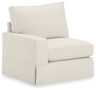 PB Comfort Square Arm Sectional Right Arm Chair Slipcover, Performance Tweed Ecr traditional-living-room-chairs