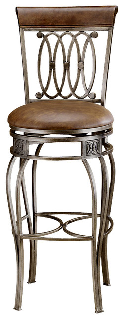 Faux Leather Upholstered Wrought Iron Swivel Traditional