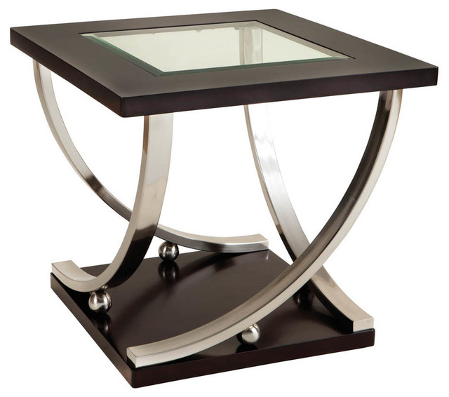 Standard furniture melrose square glass top end table in rich dark merlot traditional side Traditional coffee tables and end tables