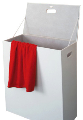 Rectangle White Faux Leather Laundry Basket Modern Bathroom Accessories By Thebathoutlet