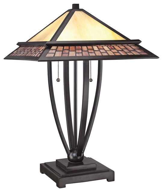 quoizel mason tiffany mission style table lamp craftsman. Black Bedroom Furniture Sets. Home Design Ideas