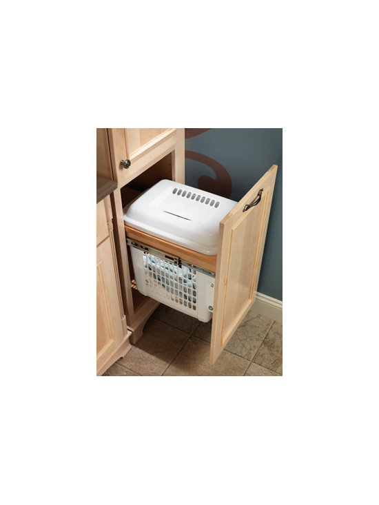 Laundry Hamper - A top-mount roll-out hamper keeps dirty laundry tucked out of sight until wash day.