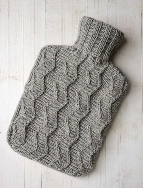 Knitted Hot Water Bottle Cover by LoftLines traditional-bath-products
