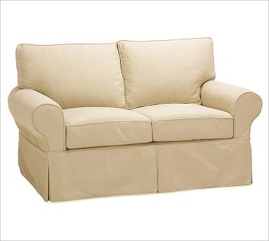 PB Basic Love Seat, Polyester Wrap Cushions, Twill Camel traditional-living-room-chairs