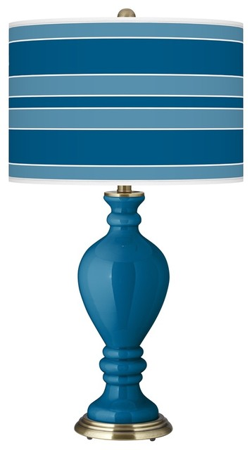 Contemporary Mykonos Blue Bold Stripe Civitia Table Lamp modern-table-lamps