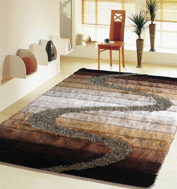5 Ft X 7 Ft Shaggy Brown Living Room Area Rug Hand