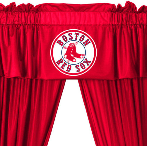 Mlb Boston Red Sox 5 Piece Long Curtains Drapes Valance Set Contemporary Curtains By Obedding