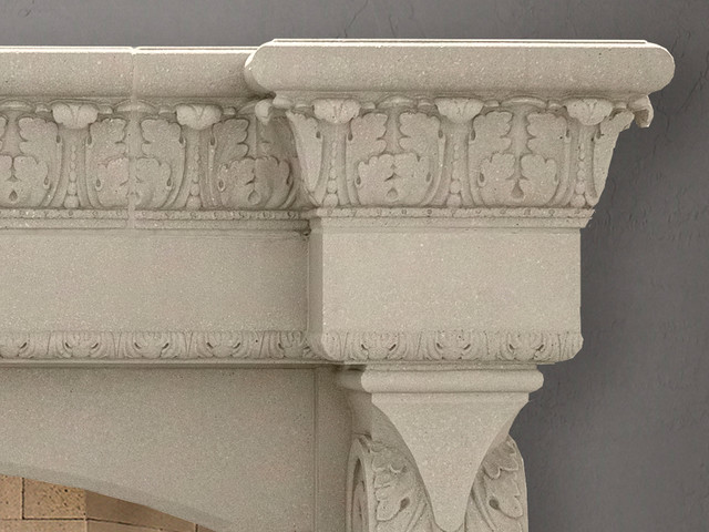 Valencia fireplace mantel mediterranean living room for Mediterranean fireplace designs