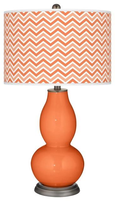 Contemporary Nectarine Narrow Zig Zag Double Gourd Table Lamp contemporary-table-lamps