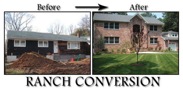 Ranch second story addition traditional newark by for Second floor addition before and after