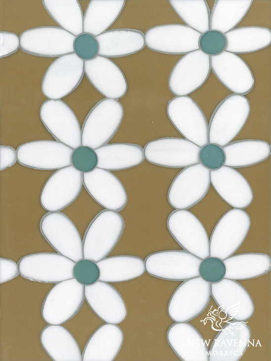 Erin Adams - Daisies - Daisies, a waterjet glass mosaic shown in Aalto, Serpentine and Moonstone, is part of the Erin Adams Collection for New Ravenna Mosaics.