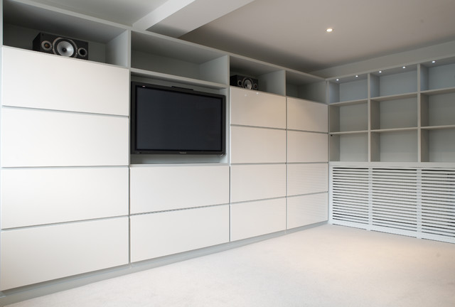 Contemporary Built In Media Unit And Storage Wall