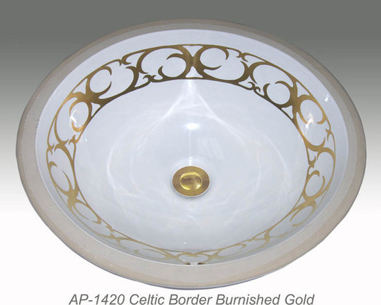 "Hand Painted Undermounts by Atlantis Porcelain - ""CELTIC BORDER"" Shown on AP-1420 white Monaco Medium undermount 17-1/4""x14-1/4""available on burnished platinum or gold and bright platinum or gold on any of our sinks."