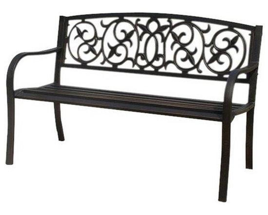 Kontiki - Kontiki Porch Seating - Steel Benches - Add a touch of traditional style to your garden or patio with the Kontiki Steel Garden Bench. Sure to enhance your outdoor decor and colorful flower beds, this elegant black steel bench is fashioned with an intricate filigree seat back for added visual interest. Suitable for use in both residential and commercial settings, this bench is the perfect accent piece for a variety of outdoor locations.     Porch Seating as its Best    Whether you have a big or small outdoor space, this bench offers comfortable and intimate seating. With slat seating and gently tapered armrests for comfort, this bench is perfect for reading the afternoon away or chatting with a loved one in the fresh air. With its durable steel construction, which is rated to hold up to 500 lbs, you can count on this bench keeping it's elegantly designed shape from one season to the next.    Open Up Your Outdoor Space with BuildDirect