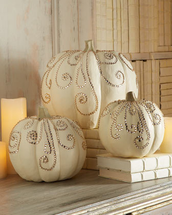 Three Jeweled Ivory Pumpkins traditional-outdoor-holiday-decorations
