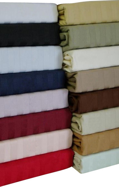 """21"""" Deep Pocket - 600TC Striped Egyptian Cotton Bed Sheet Sets traditional-sheets"""