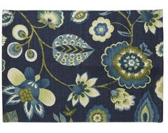 Blue Floral Flatweave Rug contemporary rugs