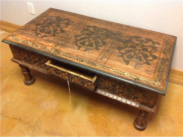 Hand Carved Hand Painted Teak Coffee Table From India Antikwitee Asian Coffee Tables