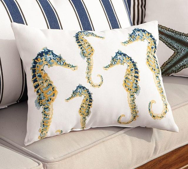 Modern Outdoor Lumbar Pillows : Indoor/Outdoor Seahorse Lumbar Pillow - Contemporary - Outdoor Cushions And Pillows - by Pottery ...