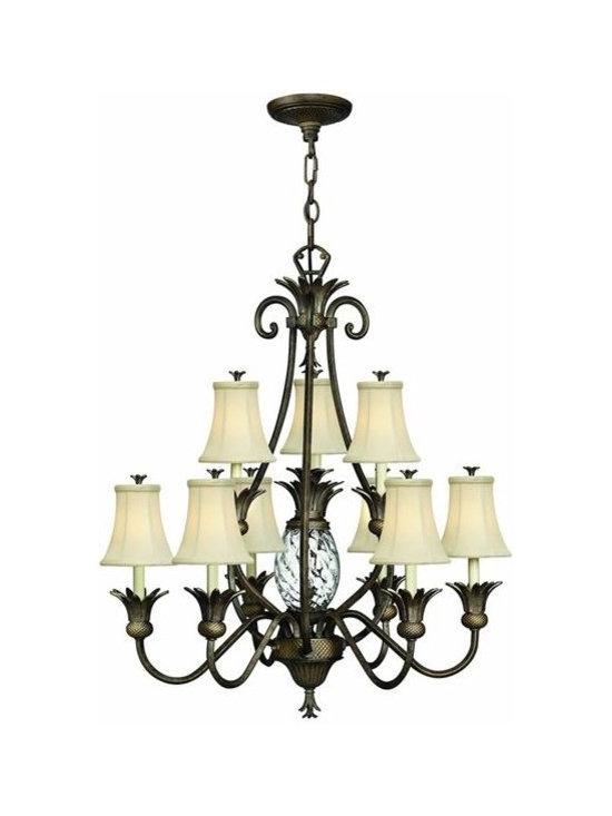 Hinkley Lighting 4887PZ 2 Tier 9 Light Chandelier Plantation Collection -