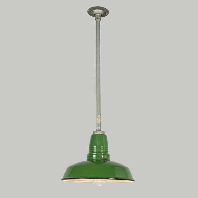 12 Green Enamel Warehouse Pendant, c1950 traditional pendant lighting