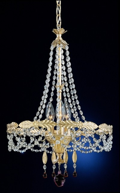 Crystal Schonbek Adagio Collection Three Light Crystal Chandelier traditional-chandeliers