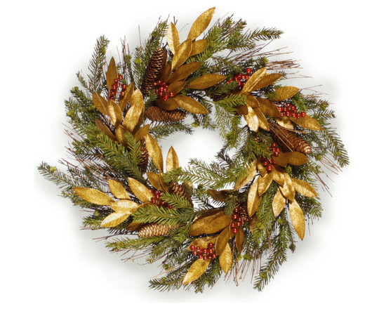 Winward Designs - Pine and Gold Leaf Wreath 24 inch - Want a wreath that combines pine seasonality with gold dazzle? It features the pine needles, cranberries and pine cones that perfectly capture the essence of this wonderful time of year. Gold leaves enhance this already beautiful wreath with dazzle. If you cant decide between a traditional or glamorous wreath, choose this one.
