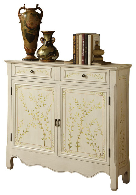New Trendy White Hand Painted Two Drawers Doors Accent Storage Console Cabinet - Contemporary ...